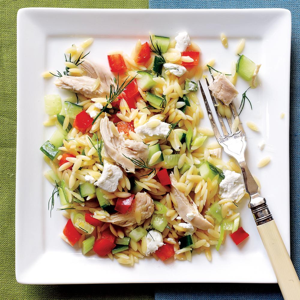 Lemony Orzo-Veggie Salad with Chicken
