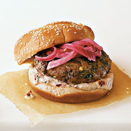 Spicy Poblano Burgers with Pickled Red Onions and Chipotle CreamRecipe