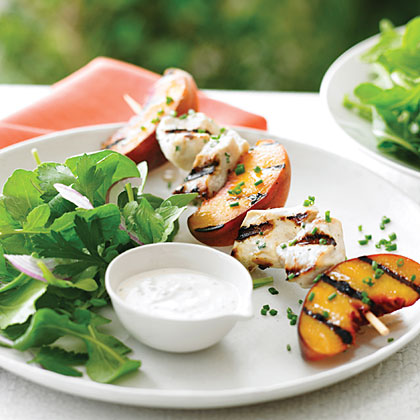 Grilled Chicken and Peach Kebab Salad