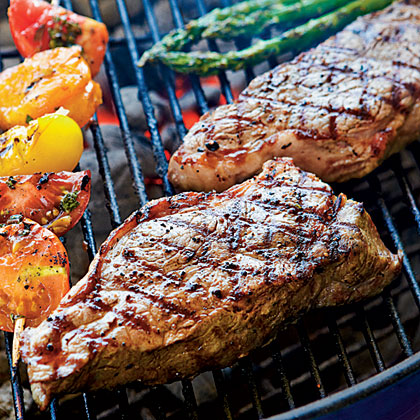 Peppercorn-Crusted Strip Steaks with Seasoned Butter
