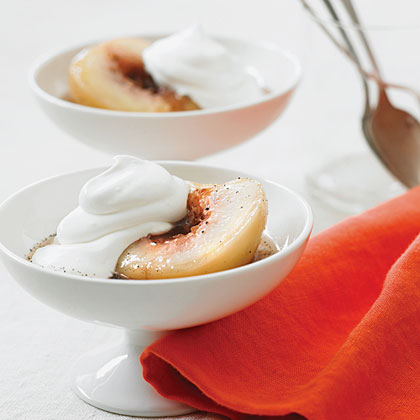 Vanilla and Riesling Poached White Peaches