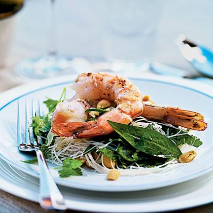 Tiger Prawn, Noodle, and Herb Salad