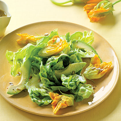 Squash Blossom, Avocado, and Butter Lettuce Salad