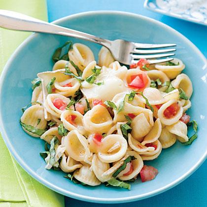 Tomato Orecchiette with Brie and Basil