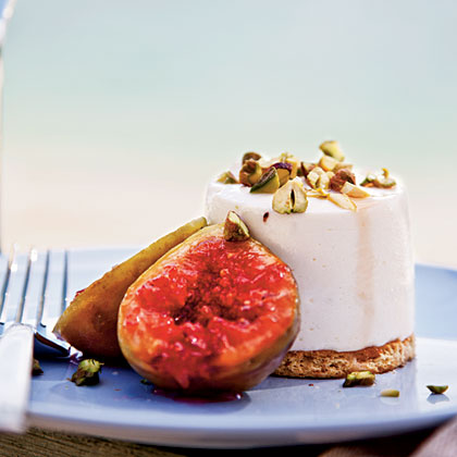 Sheep's-Milk Yogurt Cheesecakes with Grilled Figs and Pistachios Recipe