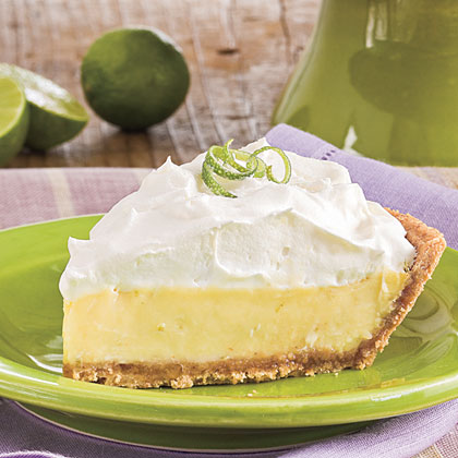 Fresh key lime pie with whip cream