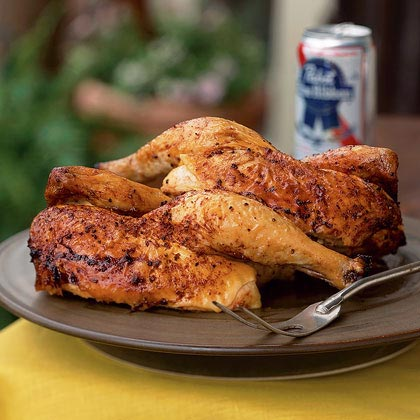 Beer Can Chicken on the Big Green Egg