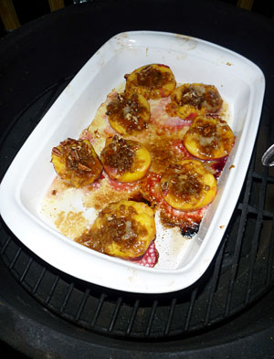 Tales from the Big Green Egg: Roasted Peaches with Pecan Praline Stuffing