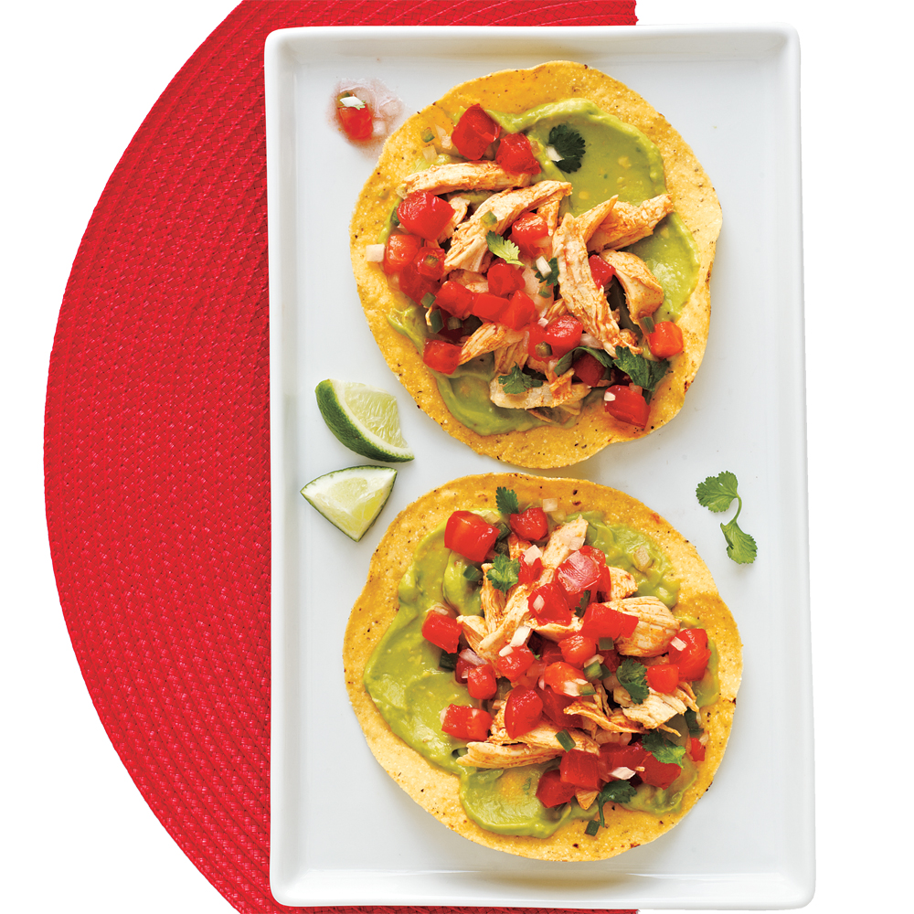 Chicken and Guacamole Tostadas Recipe | MyRecipes.com