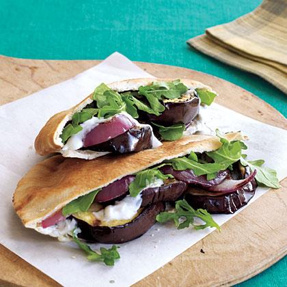 Grilled Eggplant Pita Sandwiches with Yogurt-Garlic Spread