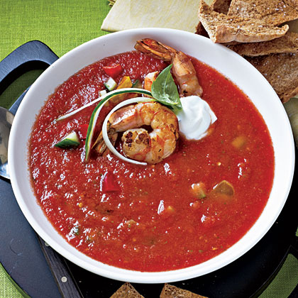 Chunky Gazpacho with Sautéed Shrimp