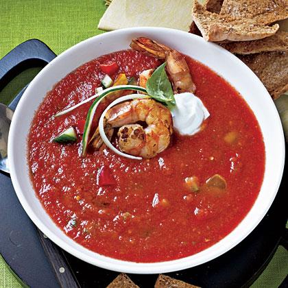 Chunky Gazpacho with Sautéed Shrimp