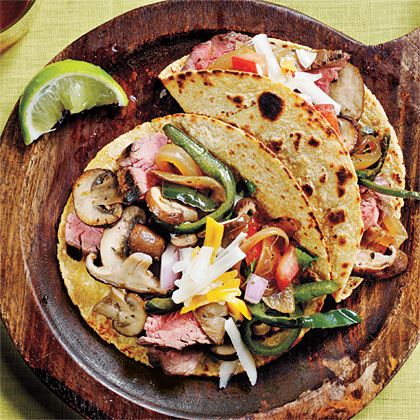 <p>Wild Mushroom, Flank Steak, and Poblano Tacos</p>