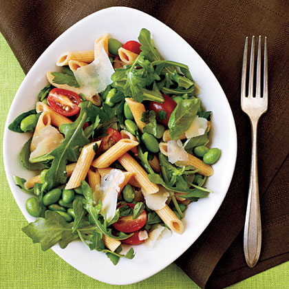 Whole-Wheat Pasta with Edamame, Arugula, and Herbs RecipeSoybeans, fresh vegetables, olive oil, and fresh herbs make this salad an excellent choice.