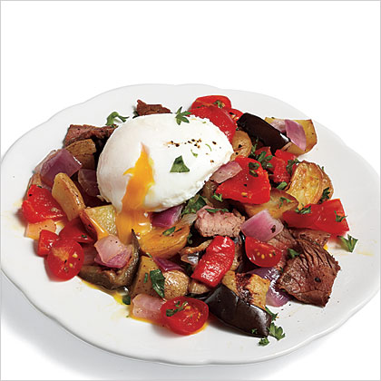 Steak Hash with Poached Eggs Recipe | MyRecipes