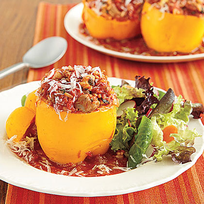 Filled with heart-healthy turkey, these stuffed peppers are both good and good for you! A fresh, green salad makes a lovely accopaniment to this dish.Turkey Stuffed Peppers