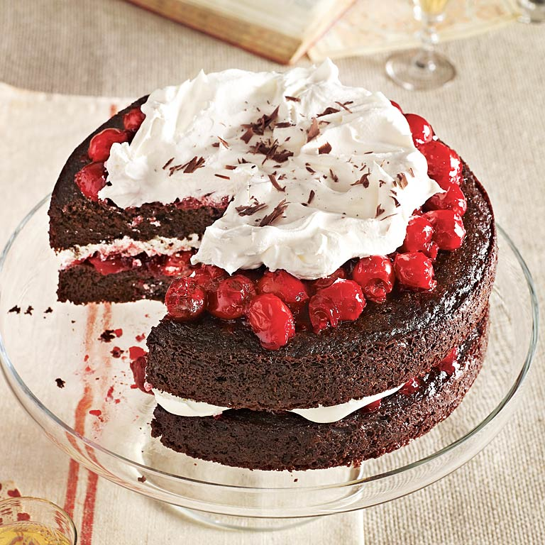 This rich cake has both presentation and panache! Everyone will ooh and ahh as they savor each cherry and chocolate bite.Black Forest Cherry Cake Recipe