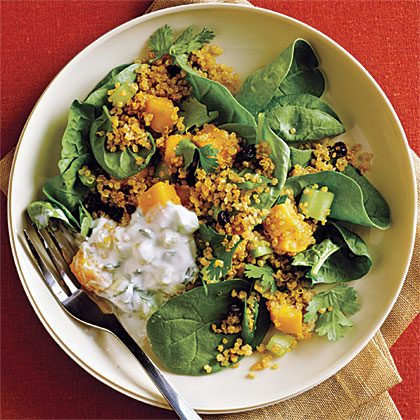 Curried Quinoa Salad with Cucumber-Mint Raita