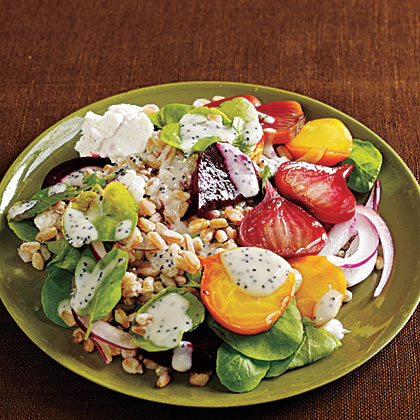 Farro Salad with Roasted Beets, Watercress, and Poppy Seed Dressing Recipe