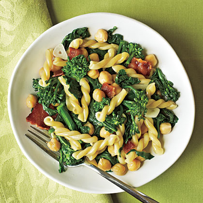 Gemelli with Broccoli Rabe, Bacon, and ChickpeasRecipe