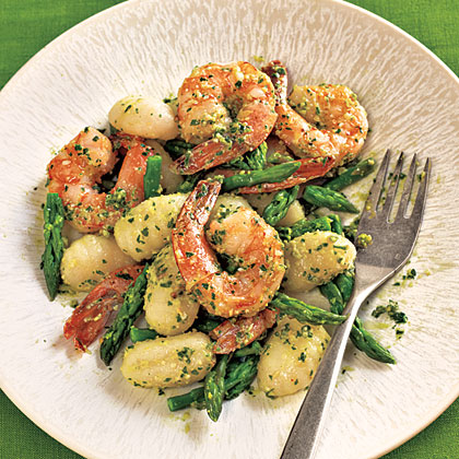 <p>Gnocchi with Shrimp, Asparagus, and Pesto</p>