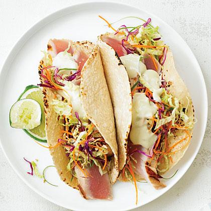 Japanese fish tacos recipe myrecipes for Tuna fish tacos