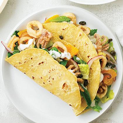 Mediterranean Calamari Tacos