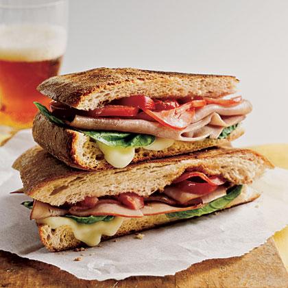 Mozzarella, Ham, and Basil Panini
