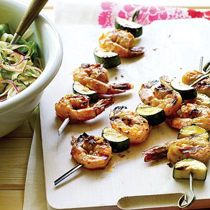 Asian Shrimp and Zucchini Skewers with Noodle Salad