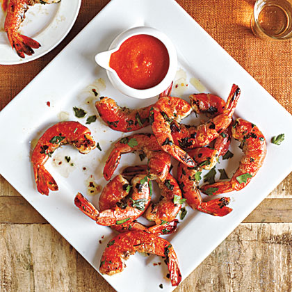 Skillet-Cooked Shrimp with Romesco Sauce