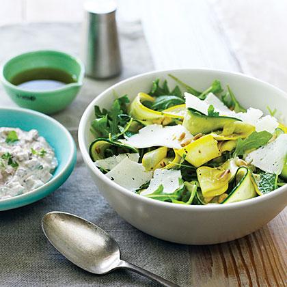 Summer Squash Carpaccio and Shaved Cheese Salad