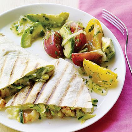 Surf and Garden Quesadillas with Avocado SaladRecipe