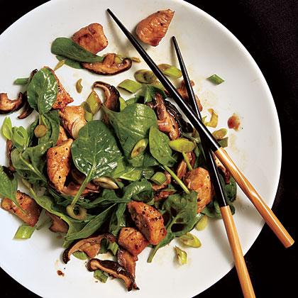 Teriyaki Mushroom, Spinach, and Chicken Salad