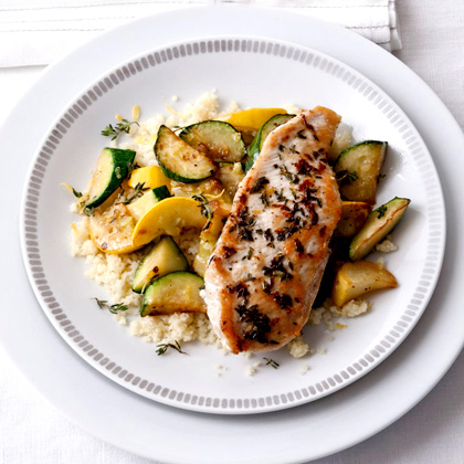 <p>Sautéed Zucchini with Lemon-Thyme Chicken</p>
