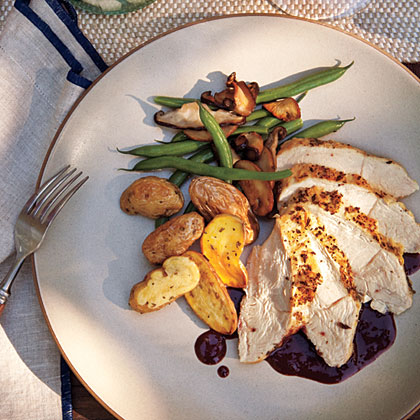 Roasted Breast of Chicken with Pinot Noir Sauce RecipeIdeal for entertaining, this elegant chicken dish features low-fat chicken breast halves flavored with fresh herbs and rich red wine sauce.
