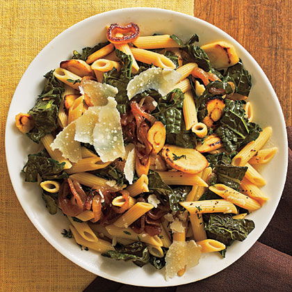 Pasta with Black Kale, Caramelized Onions, and Parsnips Recipe