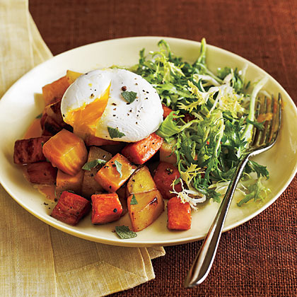 Two Potato and Beet Hash with Poached Eggs and GreensRecipe
