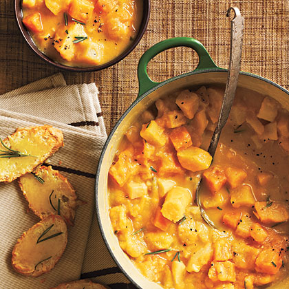 Creamy Root Vegetable Stew with Gruyère Crostini Recipe