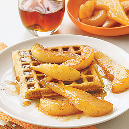 Spiced Waffles with Sauteed Pears Recipe