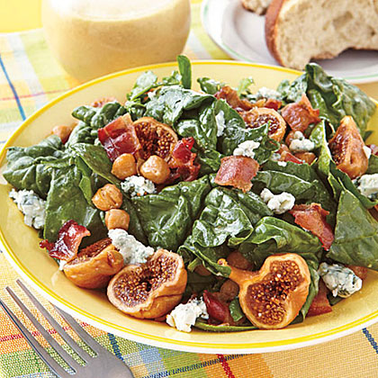 Spinach Salad with Figs and Warm Bacon Vinaigrette Recipe