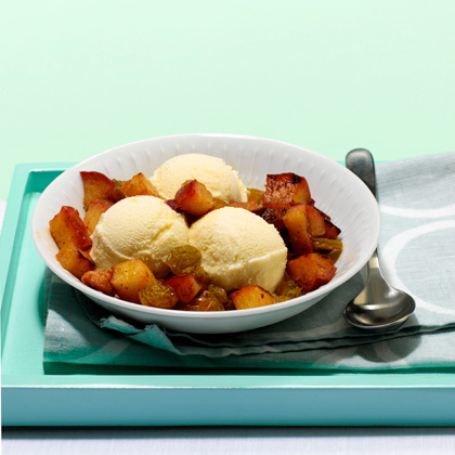 <p>Warm Apple and Rum Raisin Topping</p>