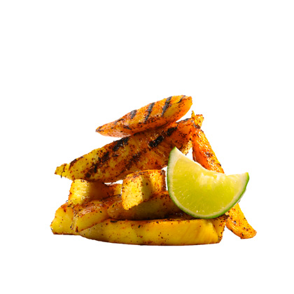 <p>Chili-Dusted Grilled Mango and Pineapple</p>