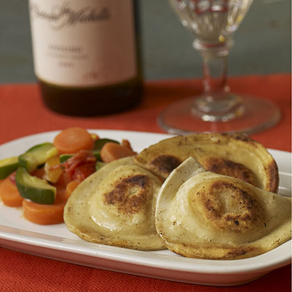 Mrs. T's Potato and Cheddar Pierogies with 2008 Chateau Ste. Michelle Riesling.