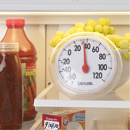 Set refrigerator temperatures somewhere between 34-40º F since cold slows bacteria growth. Any warmer than 40 degrees and bacteria numbers ratchet up fast, doubling in as little as 20 minutes. Check the temp periodically with an inexpensive refrigerator or outdoor thermometer because built-in thermostats can be off.Tip: Stash hot leftovers in small, shallow containers and cool off in cold water or an ice bath for a short period before refrigerating because putting hot leftovers in the fridge can raise the temperature.