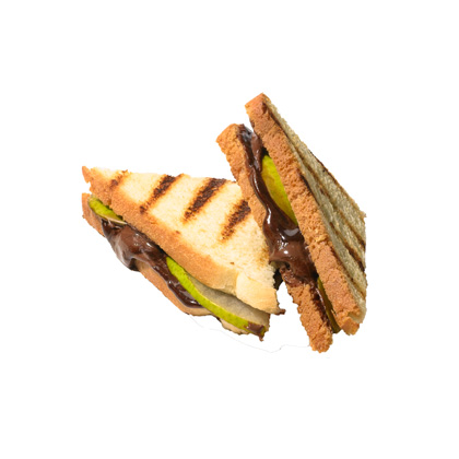 <p>Choco-Hazelnut and Pear Paninis</p>