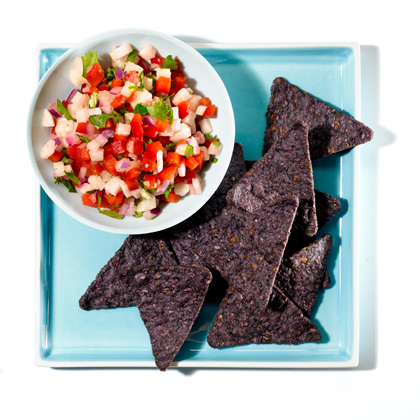 <p>Crunchy Jicama Salsa With Blue Corn Chips</p>