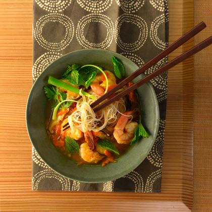Asian Rice Noodle and Shrimp Soup