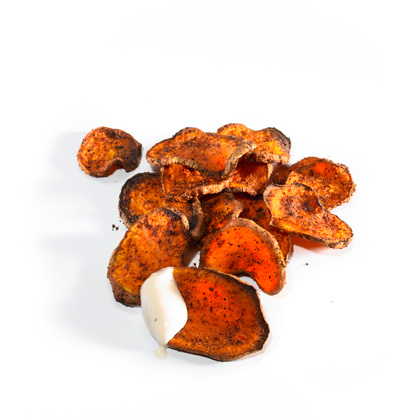 <p>Oven Roasted Sweet Potato Chips with Ranch Dip</p>