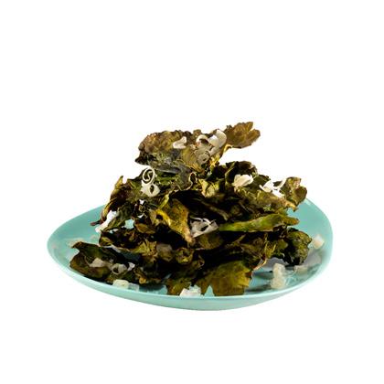 <p>Crispy Tamari Kale Chips</p>