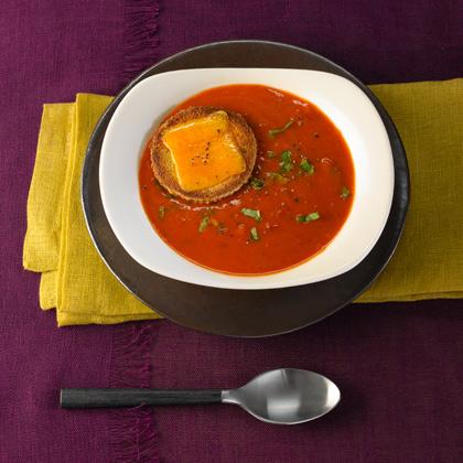<p>Creamy Tomato Basil Soup With Cheddar Croűte</p>